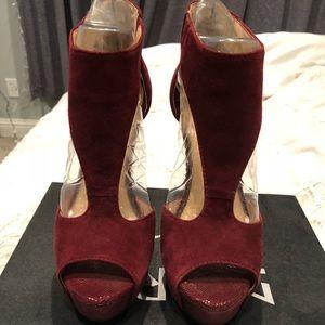 Burgundy peep toe heels